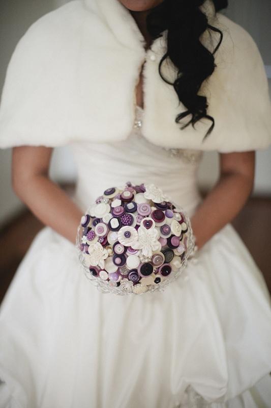 Button wedding bouquet, cute alternative to flowers. Image: Cavanagh Photography http://cavanaghphotography.com.au