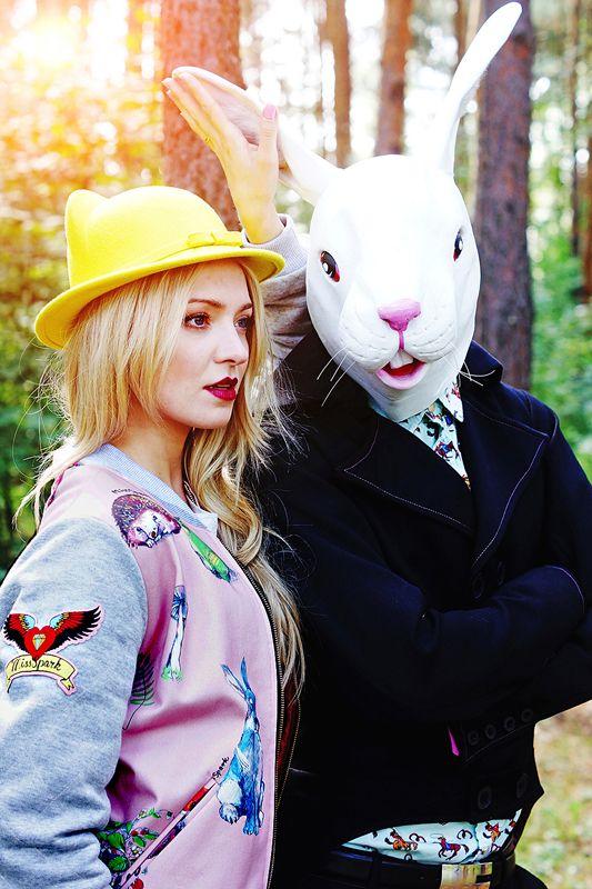 "Basia Kurdej - Szatan for MissSpark. Session ""Alice in Wonderland"". Fashion/Styling: Agnieszka Iskierka. MissSpark BOTANICAL Jacket & Hat with Cat Ears available online: shop.missspark.com"