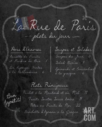 French Menu I Art Print at Art.com