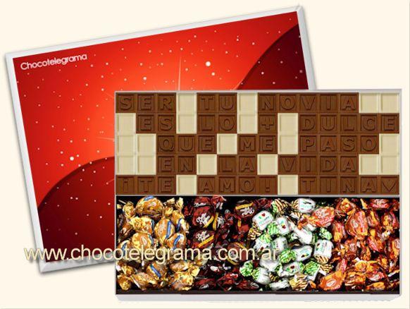 Chocotelegrama Diseño Corazón. Estuche de madera con 70 chocolatitos y variedad de Butter Toffees. www.chocotelegrama.com.ar