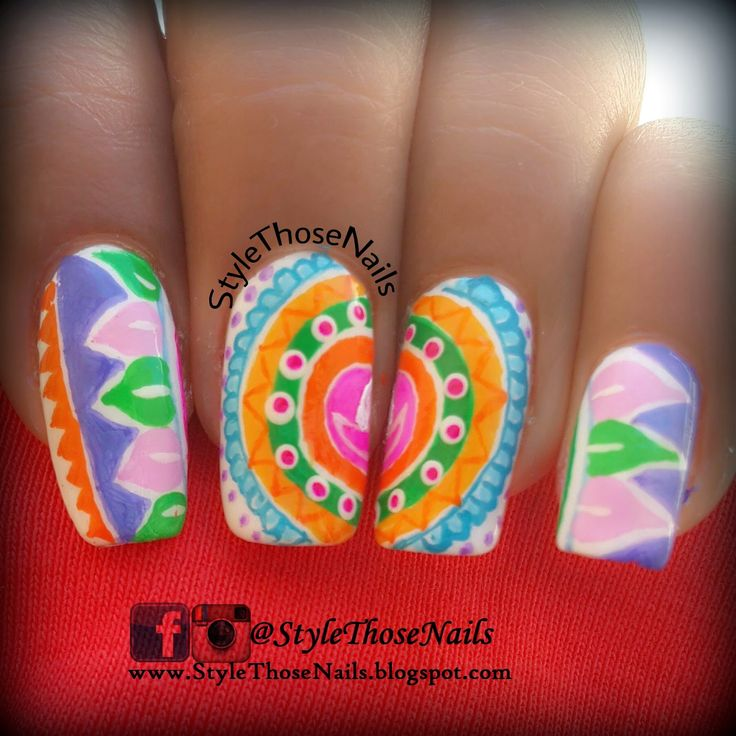 Rangoli Pattern Nail art for Diwali Festival