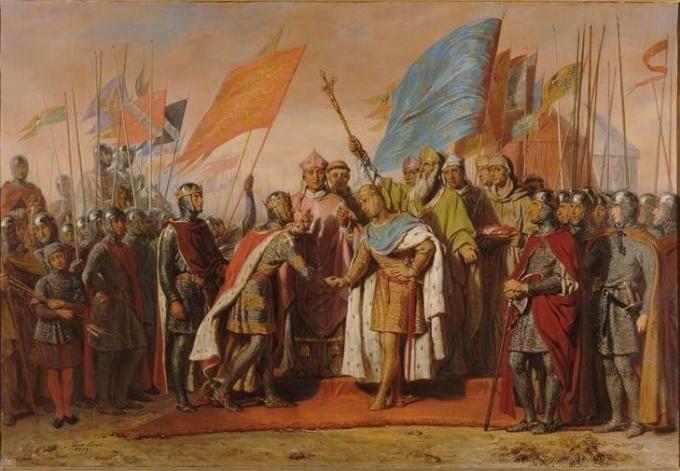 a Gisors il Re Filippo Augusto di Francia ed il Re Enrico II d'Inghilterra, giurano pubblicamente di rinunciare alle loro liti