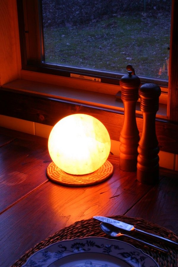"""Weight: 8-10 lbs  Height: up to 6""""  Ion Radius: Approx 5'  Wood base, UL tested Dimmer cord, 15 watt bulb, and care instructions included.  See Complete Amber Salt Light Collection >"""