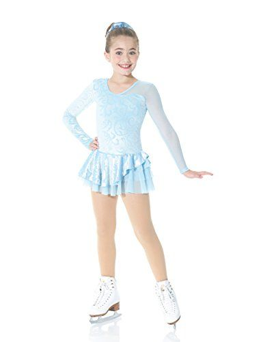 Mondor Figure Skating Dress - 2971 QE Robes Manches Longues, Jupe (Ice Blue) - 6X-7 -- Click on the image for additional details.