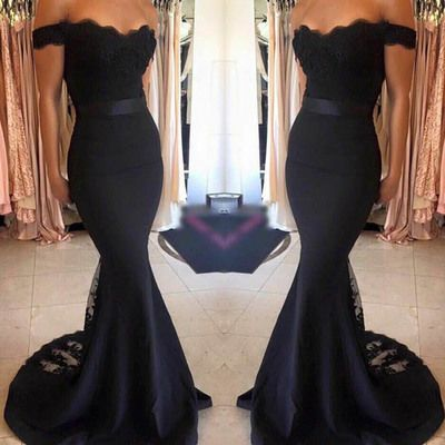 Long Prom Dress - Black Mermaid Off the Shoulder with Sash