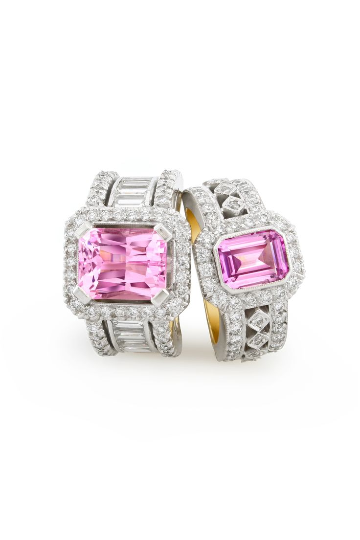 Pink sapphires are one of our absolute favorite stones. Set with diamonds the pink is even more vibrant