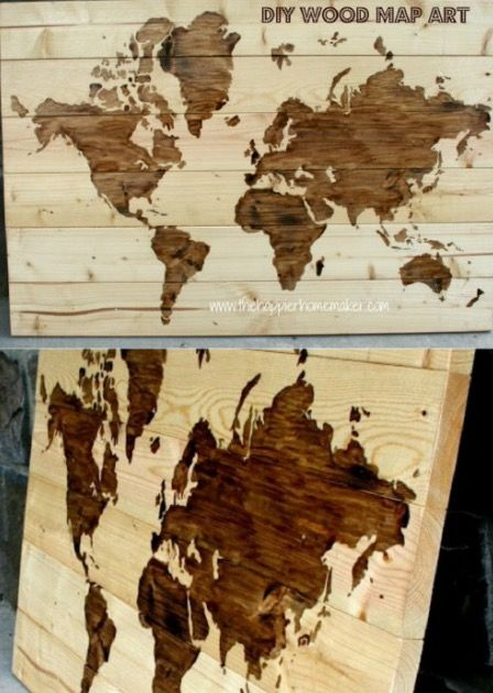 43 best wall art ideas images on pinterest creative ideas good diy wooden world map art gumiabroncs Images