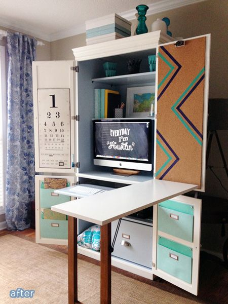 """betterafter.net Fold-out ironing board in place of that add-on desk section for a we-have-no-space sewing """"room"""""""