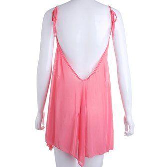 Sexy Women Pink Micro Transparent Backless Gauze Sleepwear at Banggood