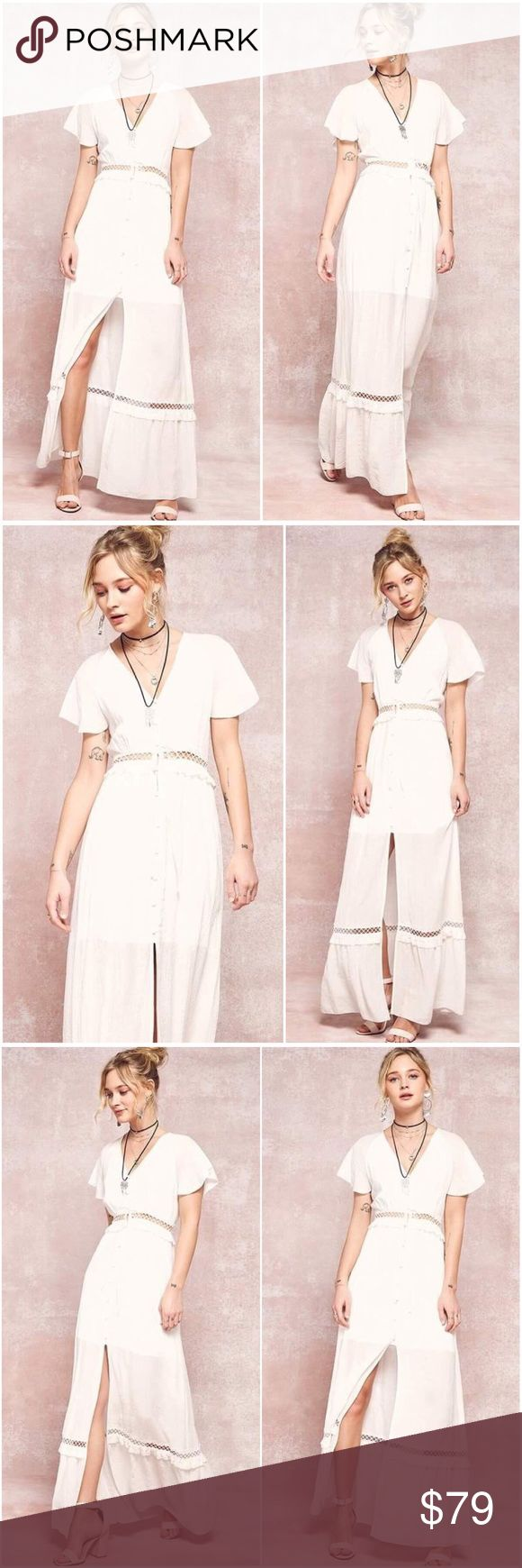 🆕NOW AVAILABLE La Lune Ivory Maxi Boho Dress A woven boho maxi dress featuring a plunge neckline, button down front, self tie waist, short butterfly sleeves, front slit and ruffled lace trim detail. Under layer is lined with shorter skirt. Made with a medium weight woven fabric that has a very soft texture and drapes beautifully. 100% Rayon. Pink and sage are also available upon request. Please ask for availability of other color options. A Mermaid's Epiphany Dresses Maxi
