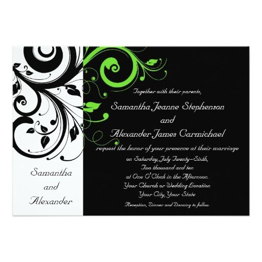 Black/White/Lime Green Bold Swirl Wedding