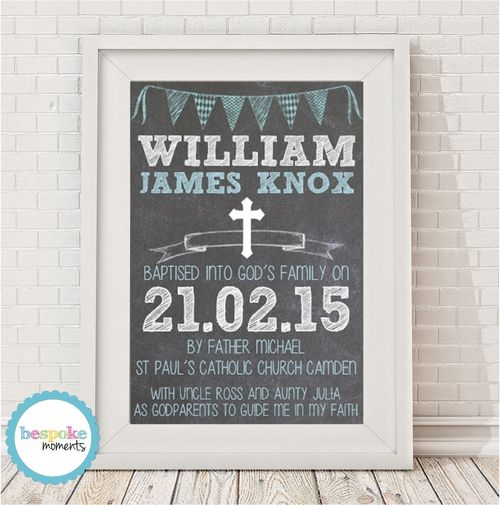 Boys Chalk Christening Print by Bespoke Moments. Worldwide Shipping Available.