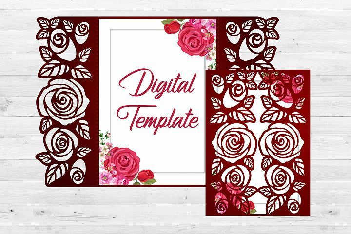 Download Roses wedding invitation template, Svg files for cricut ...