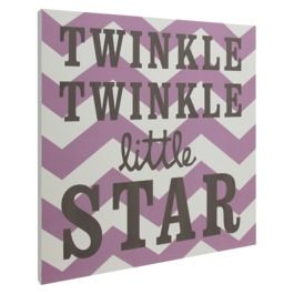 Twinkle Twinkle Chevron Wall Art - Purple - nursery - kids room - baby room