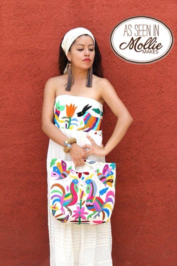 Otomi textile handbag purse bag Www.casaotomi.com Mexican hand embroidery embroidered tenango Mexican suzani