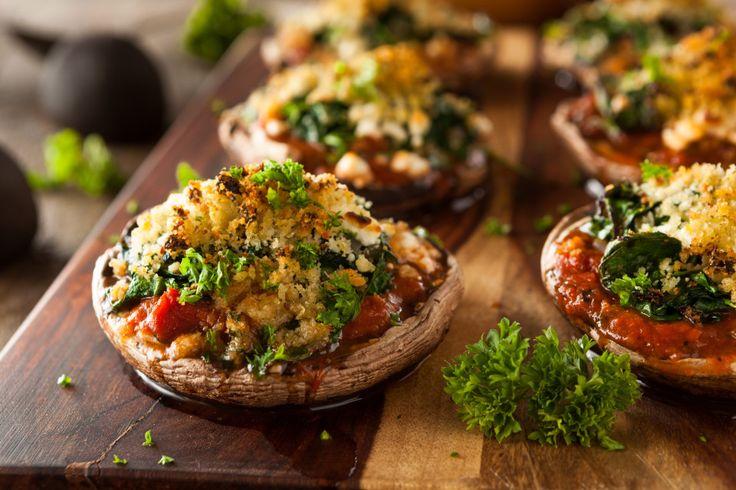 Stuffed portobello mushrooms make a great lunchtime snack