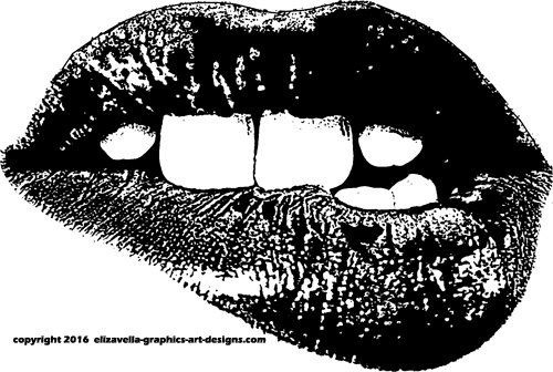 printable art teeth biting lips mouth clipart png clipart Digital Image Download art graphics digital stamp digi stamp
