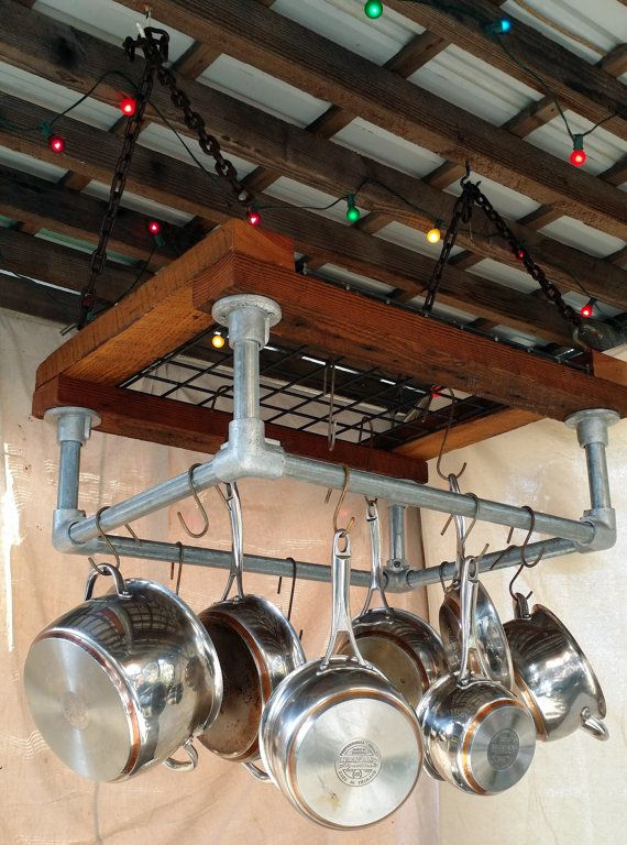 Kitchen Pot Rack, Reclaimed Barn Wood, metal grate, chain, hand bent hooks, by HammerHeadCreations