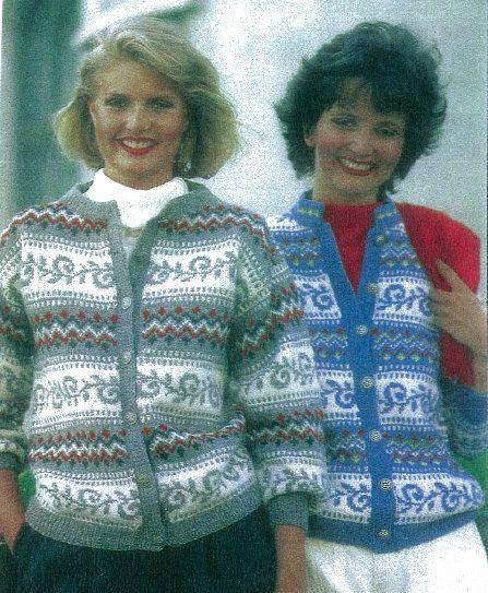 Diana-koften Hjemmet 46 1984. Ingeborg Sæland har strikket denne kofta til dronning Elisabeth og Diana, og originalen er fra Svanedal Ullvarefabrikk. Svanedal 38 (barnestørrelse).