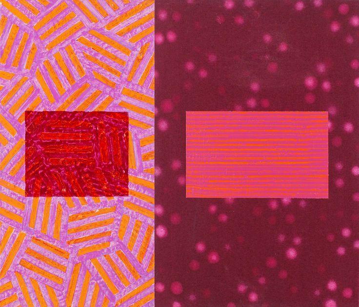 "Mari Rantanen ""According to who V"".    Diptyk.  98  Akryl och pigment på duk, totalt 60 x 70 cm"