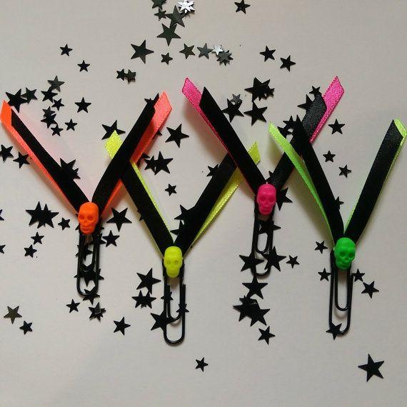 Neon Gothic Skull Paperclip Set - Planner/Journal/Bookmark - Erin Condren, Kikki K, Happy Planner -…