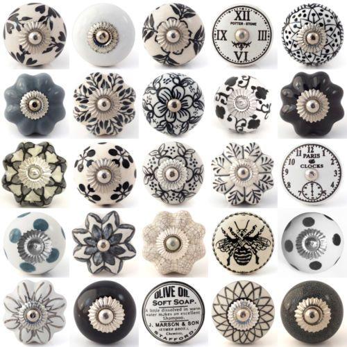 Bon Black White Grey Ceramic Knobs Drawer Pull Cupboard Door Knobs Porcelain  China | EBay