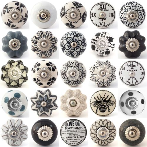 Black White Grey Ceramic Knobs Drawer Pull Cupboard Door