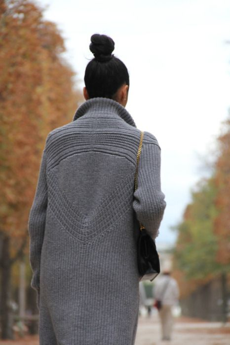 love the detail on the back of this great knitted coat