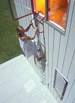 How To Use Your Fire Emergency Escape Ladder -  Equip Upstairs Bedrooms with Escape Ladders: Every bedroom should have a collapsible escape ladder near a window. Choose an escape ladder with adjustable standoffs. Standoffs rest against the building and steady the ladder making it easier to climb. http://www.resqladder.com/how-to-use-your-ladder-i-9.html