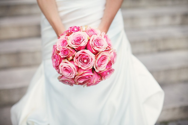 Brautstrauß rosa Rosen pink