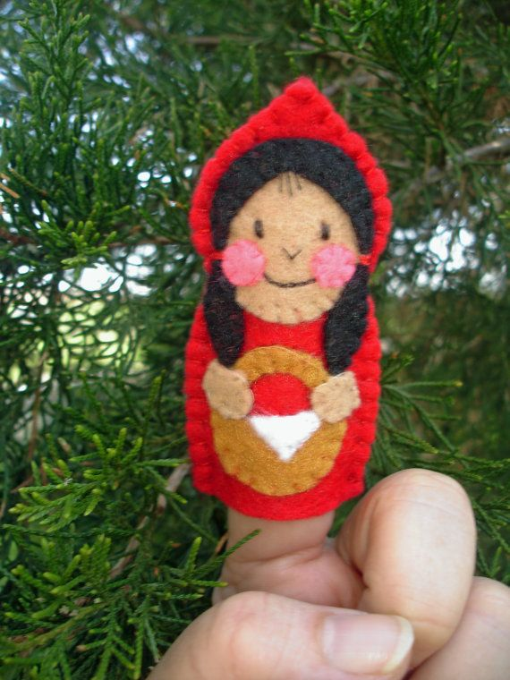 Little Red Riding Hood Hand-Stitched Felt Finger Puppet by MyDisgustedCats, $5.00