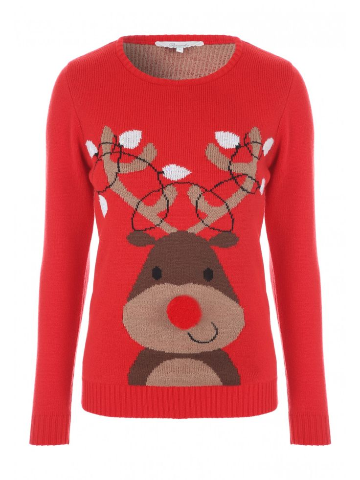 Get in the festive spirit with this women's novelty lights jumper. Featuring a large reindeer motif with a pom nose and light up antlers on the front, this fun jumper is sure to be a hit this Christmas.