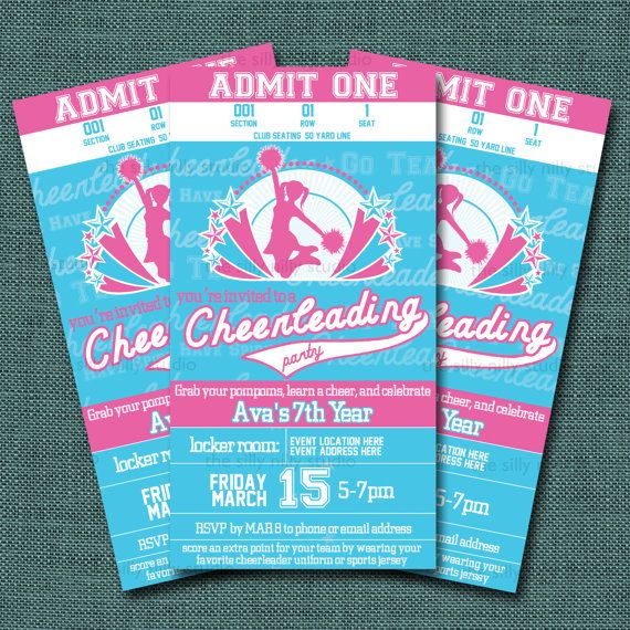 Printable Cheerleader party invitation by thesillynillystudio, $18.00