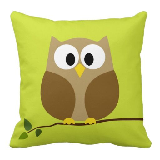 Cute Cartoon Owls | Cute Owl Cartoon on branch with Pattern on back Pillows from Zazzle ...
