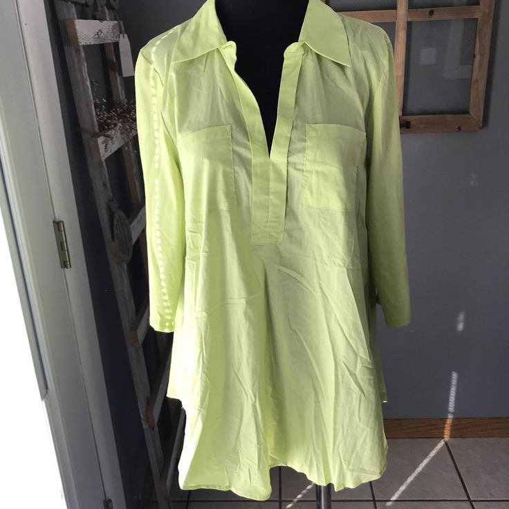 Christine Alexander Women's Neon Green Cotton Modal 3/4 Sleeve Tunic Blouse M  #ChristineAlexander #TunicBlouse #CasualDress