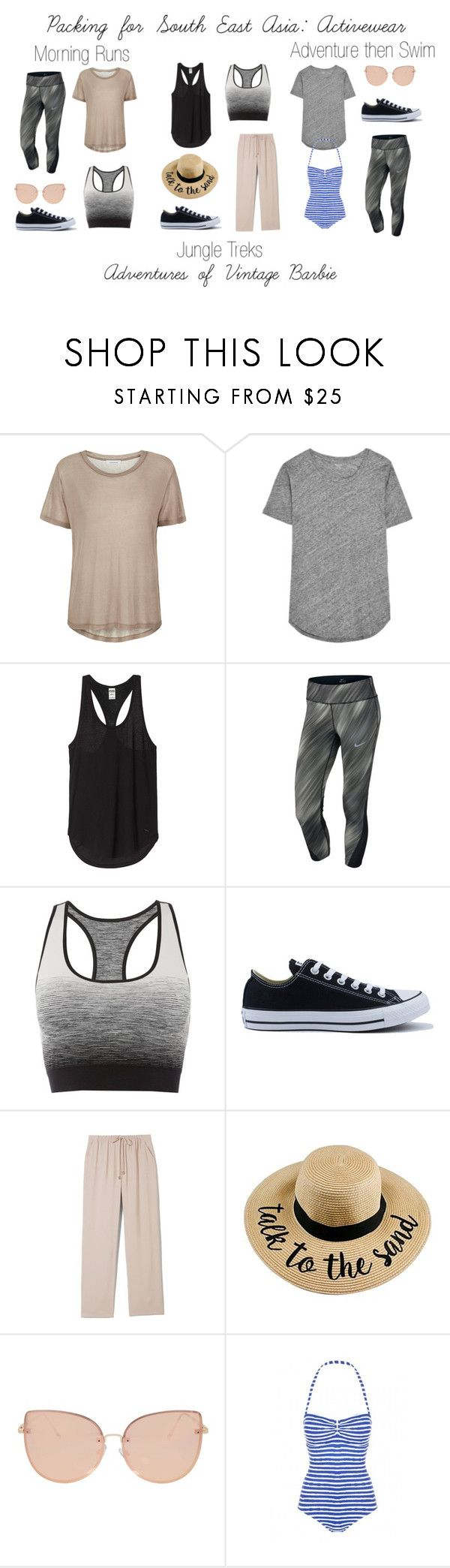 """""""Packing for South East Asia: Activewear"""" by vintagebarbie17 on Polyvore featuring Samsøe & Samsøe, Madewell, NIKE, Pepper & Mayne, Converse, Vince Camuto and Topshop"""