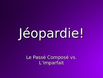 This is a fully interactive Powerpoint Jeopardy game that I project onto the SmartBoard after they learn the Imparfait and start comparing the Imparfait with the Passé Composé.