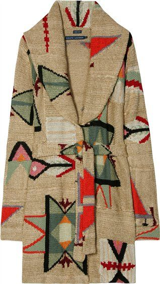 Ralph Lauren bohemian chic print sweater coat #boho