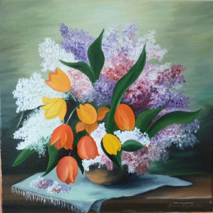 "Oil on canvas ""Lilac and Tulips"""