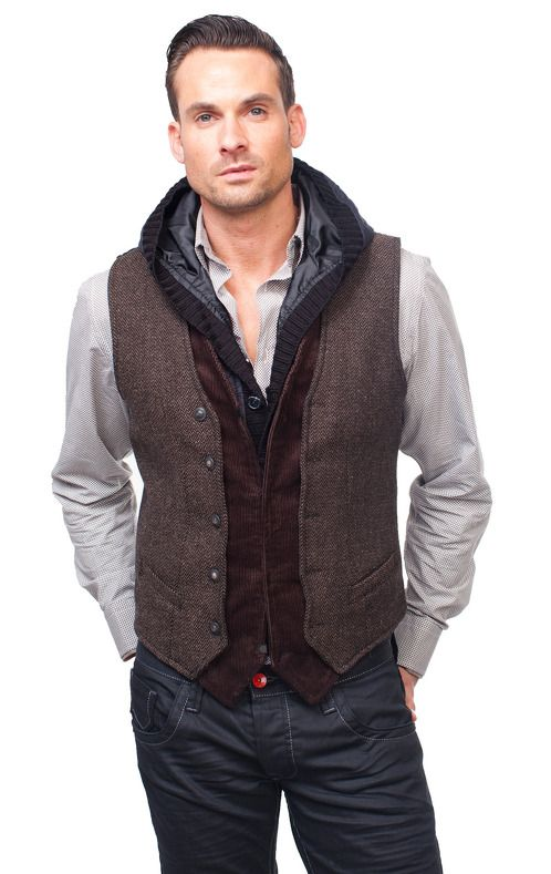 https://www.cityblis.com/8143/item/6186 | RIBBED HOOD VEST - $160 by RNT23 Jeans | * Perfect casual vest * Slim fit with 4-button placket * Diagonal slit pockets * Hooded collar * Knitted, zip removable placket * Full lining | #Other Mens Clothing
