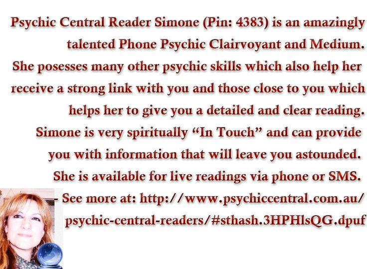 Psychic Central Reader Simone (Pin:4383) http://www.psychiccentral.com.au/psychic-central-readers/#sthash.3HPHlsQG.dpuf