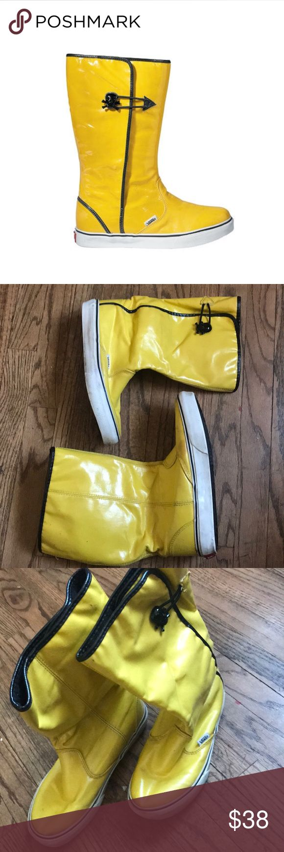 💛Amazing Vans Dasan YELLOW Rainboots W/ SKulls😍 Preowned, great condition, Please see all pictures, normal use, Sold out in stores when they were released! Womans size 6, Men's 4.5. bundle today or make me an offer😉🎉 First pic is a STOCK PICTURE! Vans Shoes Winter & Rain Boots