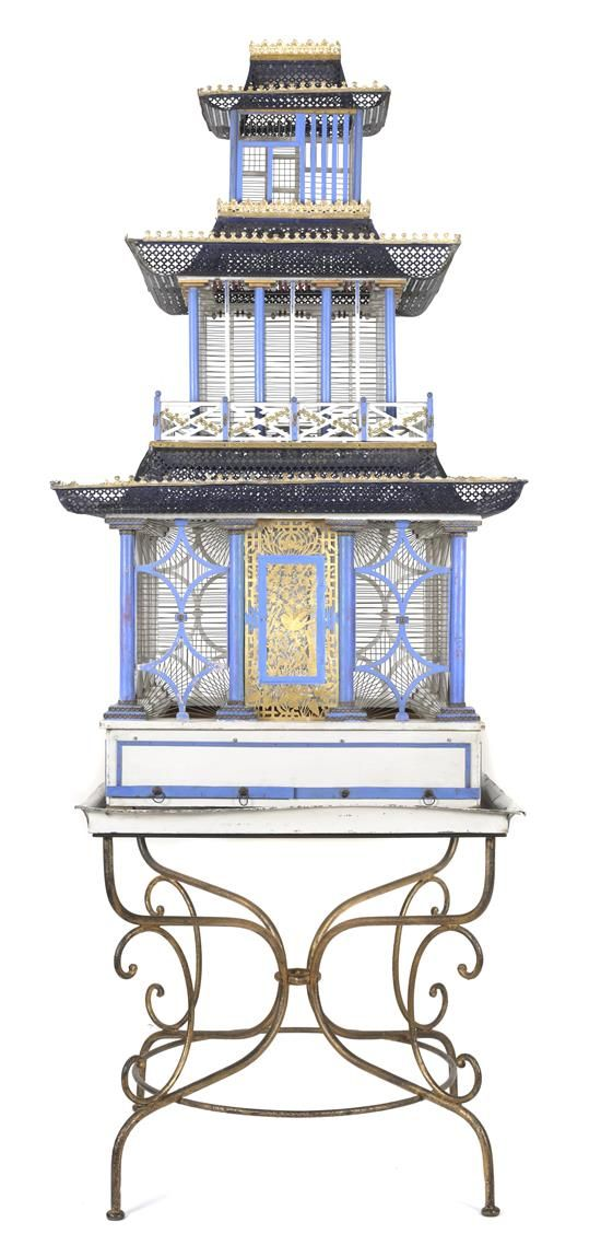 Gorgeous Large Victorian Pagoda-Form Birdcage