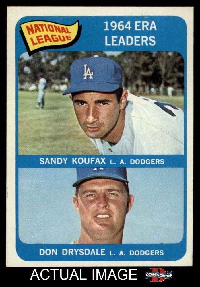 1965 Topps #8 Sandy Koufax / Don Drysdale - NL ERA Leaders Dodgers NM #Dodgers