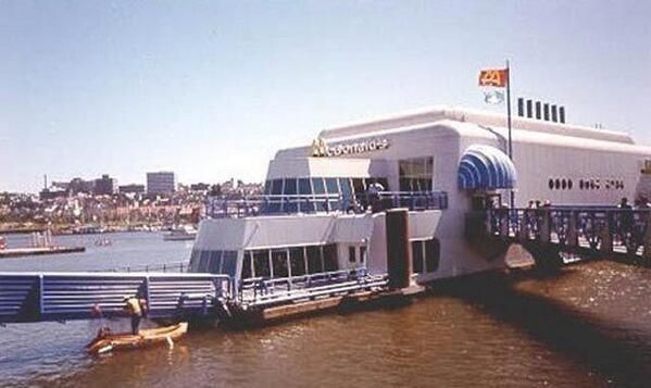 A floating McDonald's for the Vancouver Expo of 1986. #Expo86 #WorldsFair #Vancouver #BritishColumbia #Canada