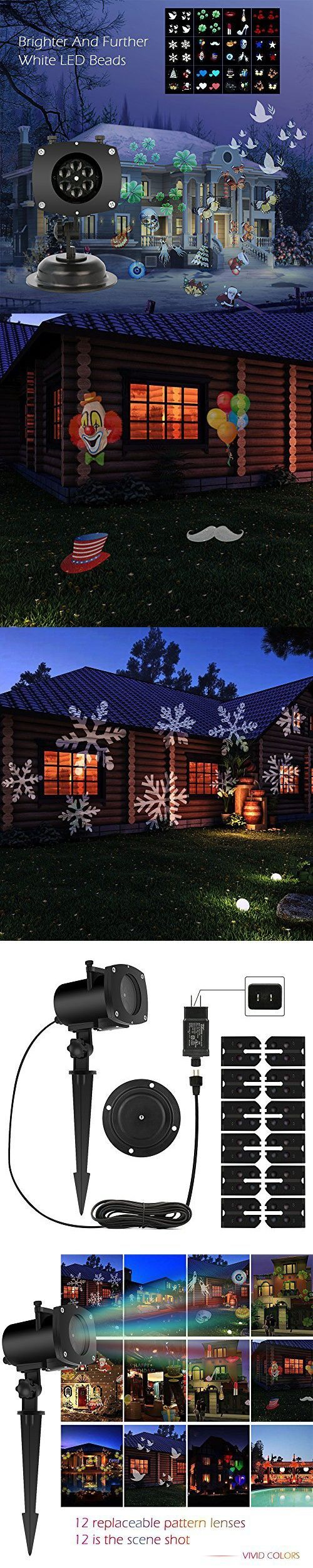 Christmas Projector Lamp Moving 12 Pattern LED Landscape Projection Lights Outdoor/Indoor Decor Spotlights Stage Irradiation for Christmas Party Holiday Home Decoration Garden Tree Wall
