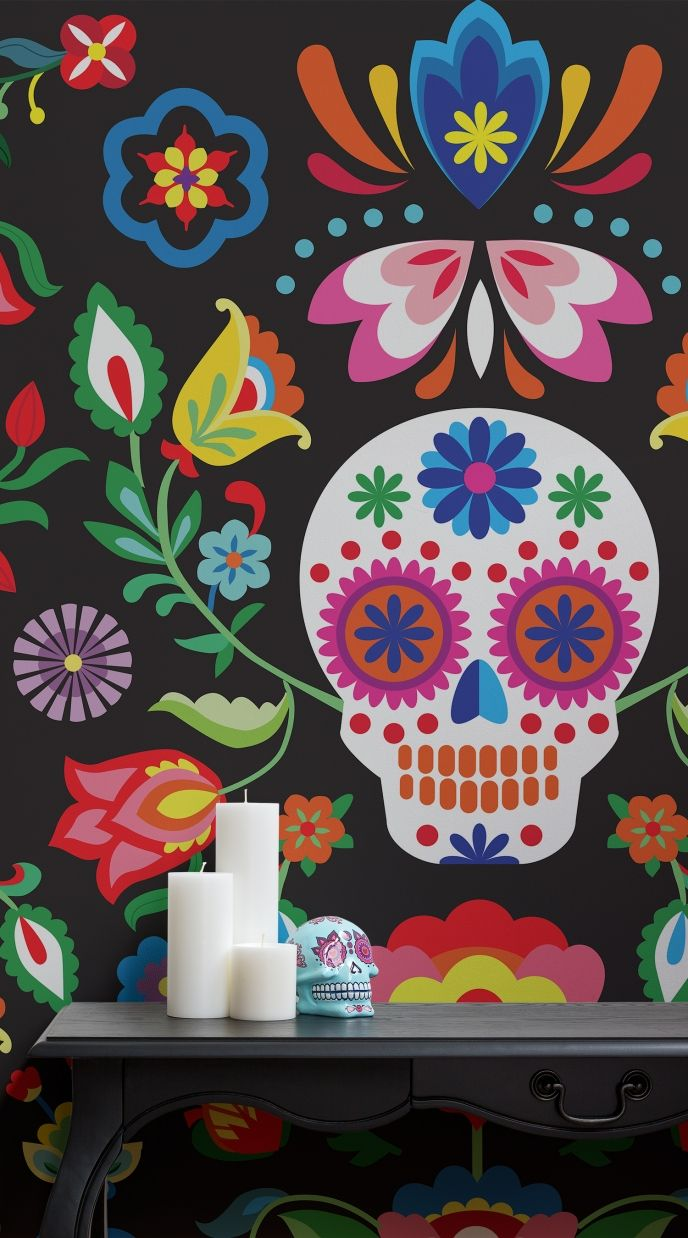 Day Of The Dead Wallpaper - Sugar Skull Floral Wall Mural | Pitter Pattern