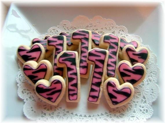 Hot Pink Zebra Print Birthday Sugar Cookies by YadkinValleyCookies, $17.00