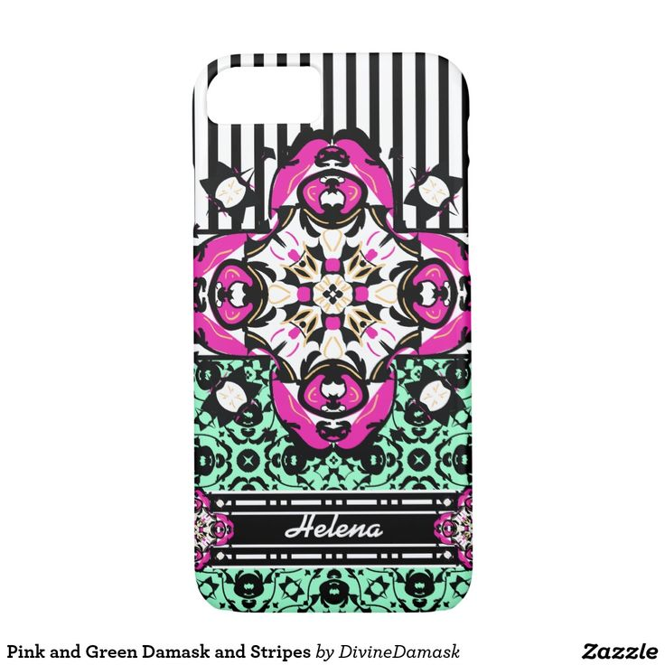 Pink and Green Damask and Stripes iPhone 7 Case