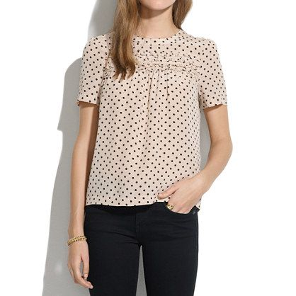 Silk Scallop-Ruffle Tee in Dot - blouses - Women's SHIRTS  TOPS - Madewell